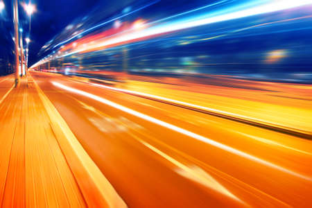 Abstract image of night lights in the city with motion blur   Stock Photo