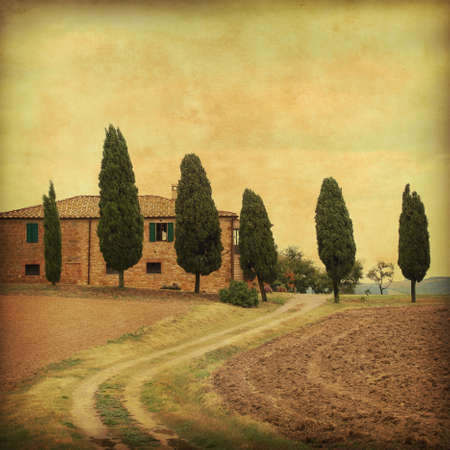 Farmhouse in Tuscany in grunge and retro style. photo