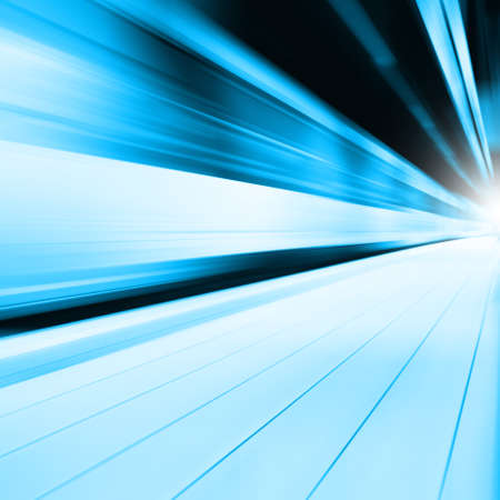 railway points: Abstract image of train in motion blur in subway station.