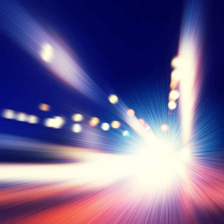Abstract image of speed motion on the road at night time. photo