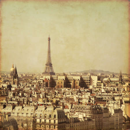 Old style photo of Paris, France. Aerial view. photo