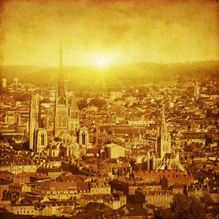 Rouen at sunset in grunge and retro style. photo