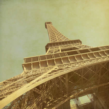 old fashioned sepia: View of Eiffel Tower.Old style photo.