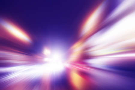yellow line: Abstract image of speed motion on the road at night time.