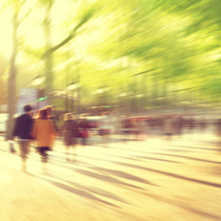 busy street: Abstract blurred image of people in the city.