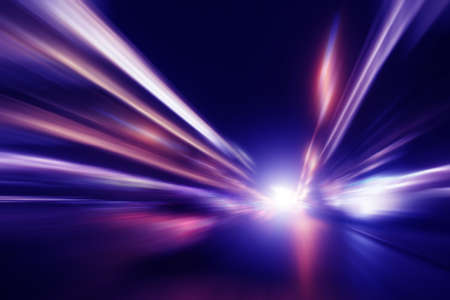 Abstract image of high speed on the road at night. photo