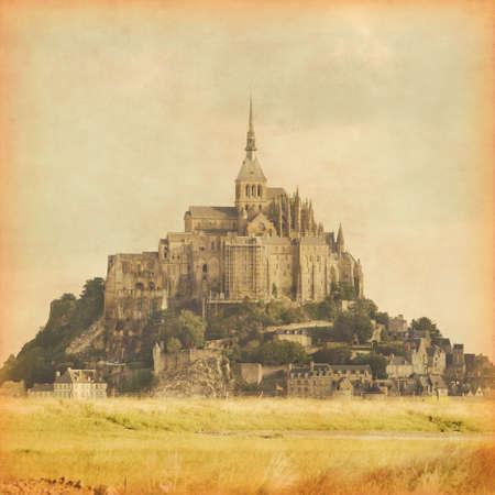 michel: Grunge style photo of Mont Saint Michel. Normandy. France.