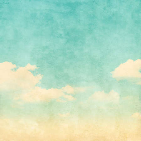 grunge image: Grunge image of blue sky with clouds.