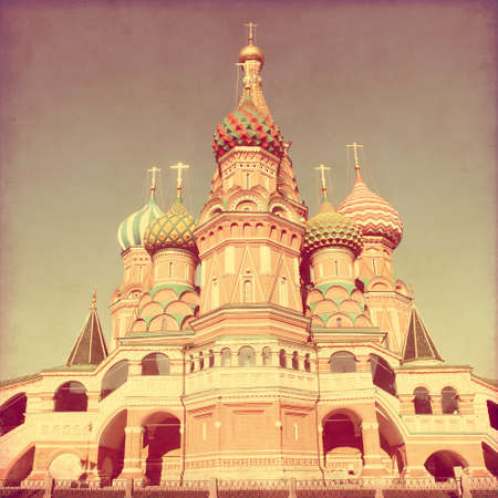 square image: Saint Basils Cathedral, at Red Square, Moscow, Russia. Image in retro and grunge style.
