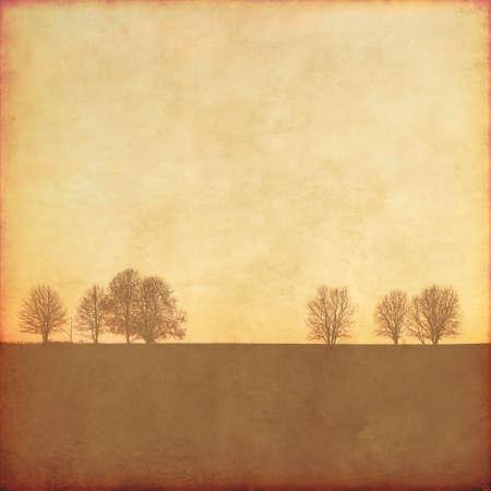 textuur: Grunge achtergrond met bomen. Stockfoto