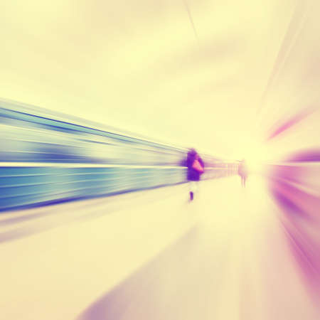 blur subway: Train in motion blur and blurred people in subway station. Vintage style. Stock Photo