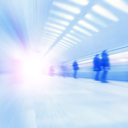 blur subway: Train in motion blur and blurred people at subway station.