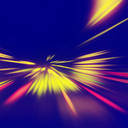 black blue: Abstract image of traffic lights on the road at night.