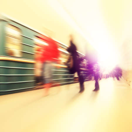 blur subway: Abstract image of train in motion blur and blurred people at subway station. Stock Photo