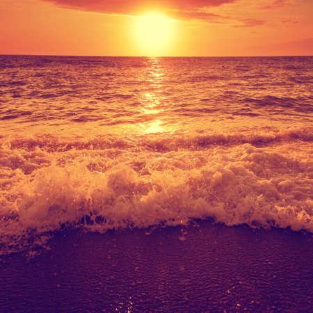 over the sea: Dramatic sunset over sea and beach.