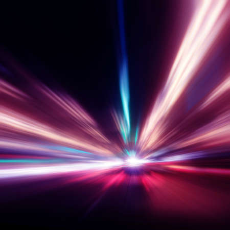 Abstract image of speed motion on the night road. Stock Photo