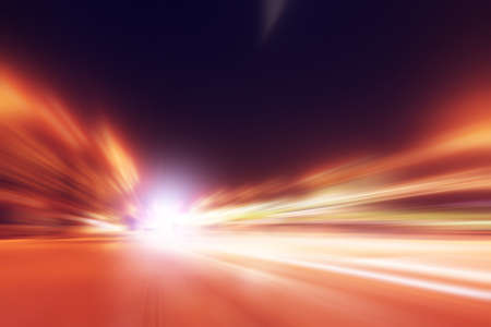 Speed motion on the road at night time.