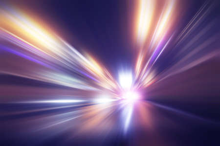 Abstract image of speed motion in tunnel at night. Stock Photo