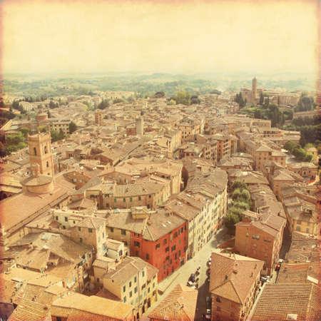 brick house: View of Siena in Tuscany. Old style photo.