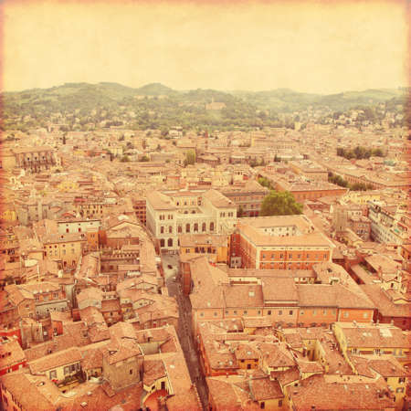 View of Bologna. Italy. Old style photo. Stock Photo