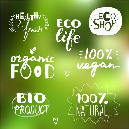 Set van witte vector labels. Gezond voedselontwerp.