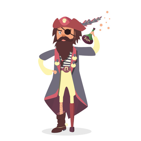 Pirate with Rum bottle. Funny cartoon character. 向量圖像