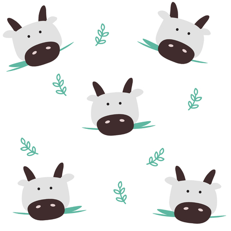 Cows head seamless pattern. Cartoon cute background.