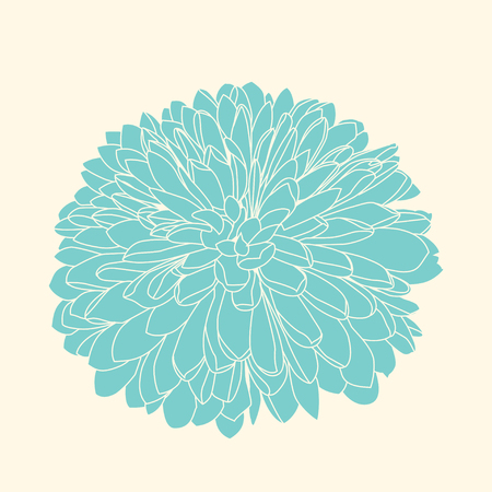 Vector handdrawn light green chrysanthemum. Isolated on yellow background.