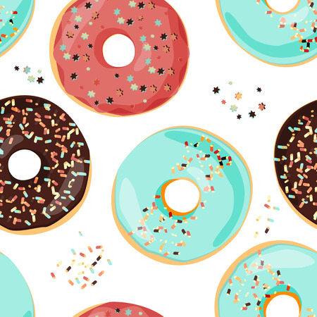 Seamless colorful donut pattern. Sweet cartoon background.