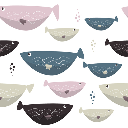 Seamless sea fishes simple pattern. Wildlife background. Ilustrace