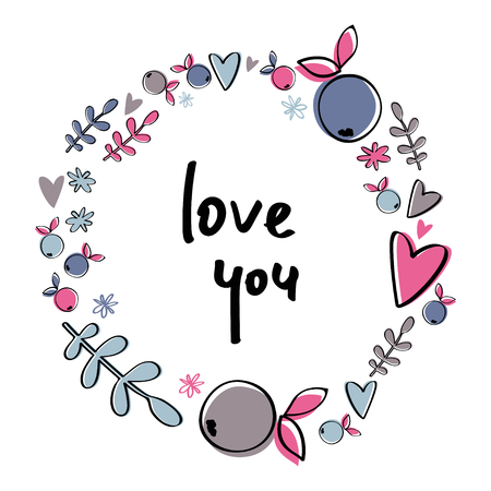 Berry wreath with hearts and phrase Love you.