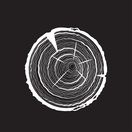 A Vector tree rings on Saw Cut Tree Trunk.