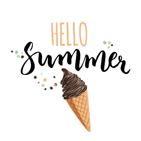 Hello summer illustration with hand written text. Seasonal poster with ice cream. Vector illustration.