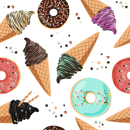 Sweet birthday seamless pattern - ice cream, donuts, candies  イラスト・ベクター素材