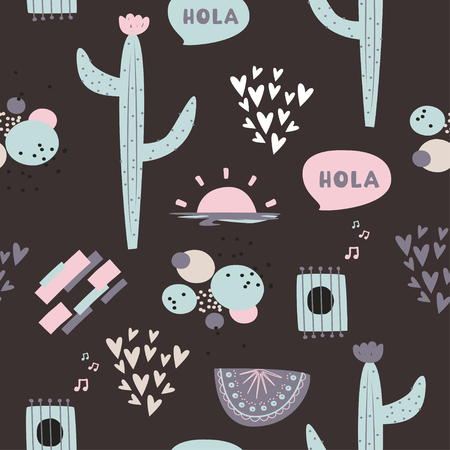 Cute dark vector background. South American ethnic pattern with cactus, abstract compositions and hearts.