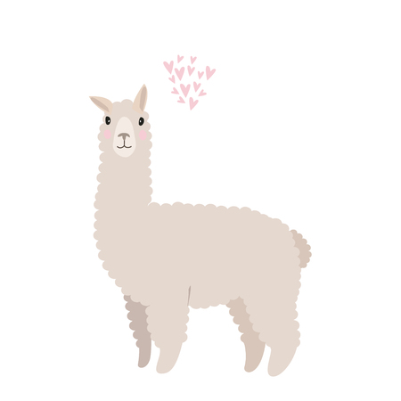 Cute vector flat illustration. Isolated llama with cloud of hearts. Illustration