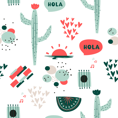 Cute vector background. South American ethnic pattern with cactus, abstract compositions and hearts.