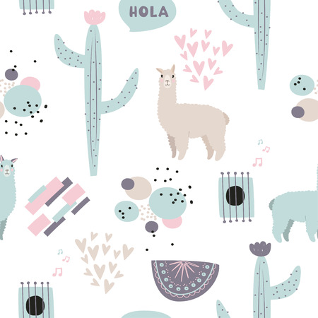 Cute vector background. South American ethnic pattern with lama, cactus, abstract compositions and hearts.