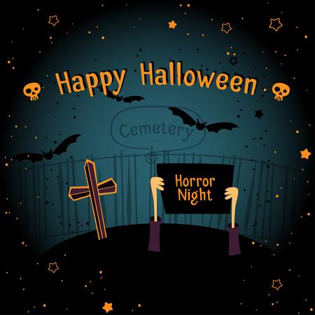 Happy Halloween dark poster design. Vector illustration.