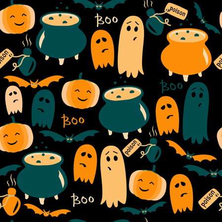 Cute Halloween background with ghosts, pumpkins and poison. Vector illustration. Stock Photo