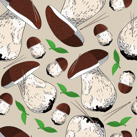 Cep hand drawn background. Mushrooms vector seamless pattern. Illustration