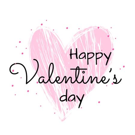 Textured pink heard illustration. Happy Valentine's day celebration card. Ilustração
