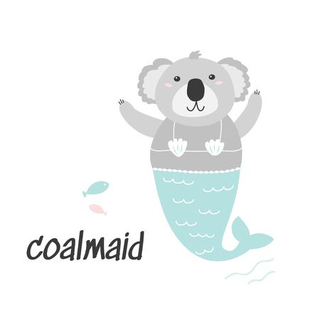 Cartoon character. Cute Coala Mermaid illustration