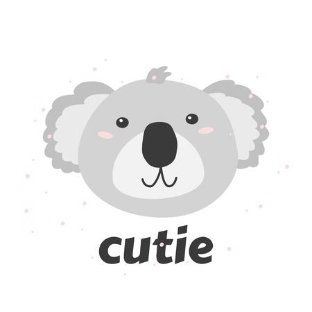 Little coala s head with word Cutie. Simple vector illustration.