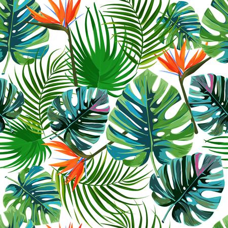 Exotisches nahtloses Muster des Sommers. Tropische dunkelgrüne Blätter von Palmen und Blumen Paradiesvogel Strelitzia. Vektorgrafik