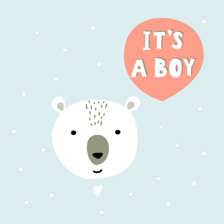 Cartoon character bear and handwritten phrase. It s a boy vector illustration.
