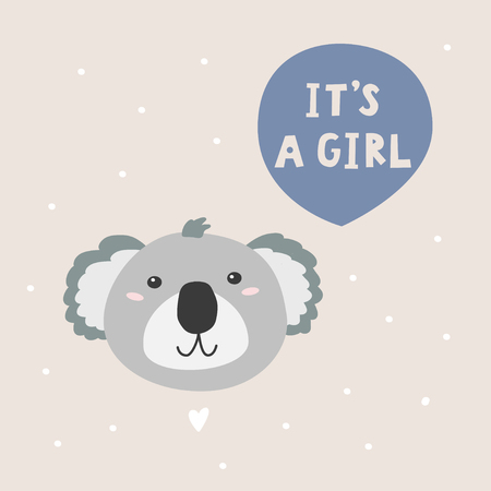 Cartoon character coala bear and handwritten phrase. It s a girl vector illustration.