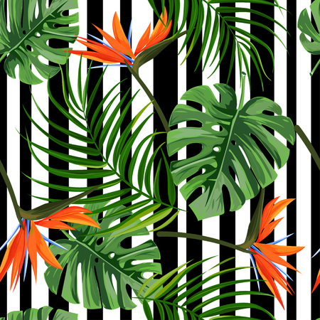 Seamless pattern with monstera, palm leaves and bird of paradise. Colorful tropical plant background. Illustration