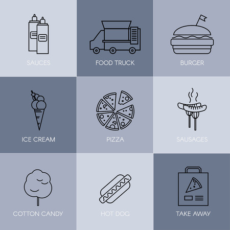 Outline stroke vector illustration. Set of simple fast food icons.
