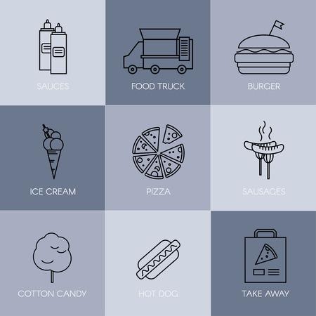 Outline stroke vector illustration. Set of simple fast food icons. 向量圖像